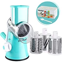 Cambom Manual Rotary Cheese Grater - Round Mandoline Slicer with Strong Suction Base, Vegetable Slicer Nuts Grinder Cheese Shredder with Clean Brush