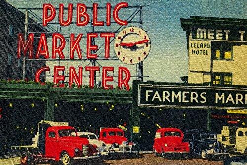 Seattle, Washington - Pike Place Market View - Vintage Halftone (12x18 Art Print, Wall Decor Travel Poster) ()