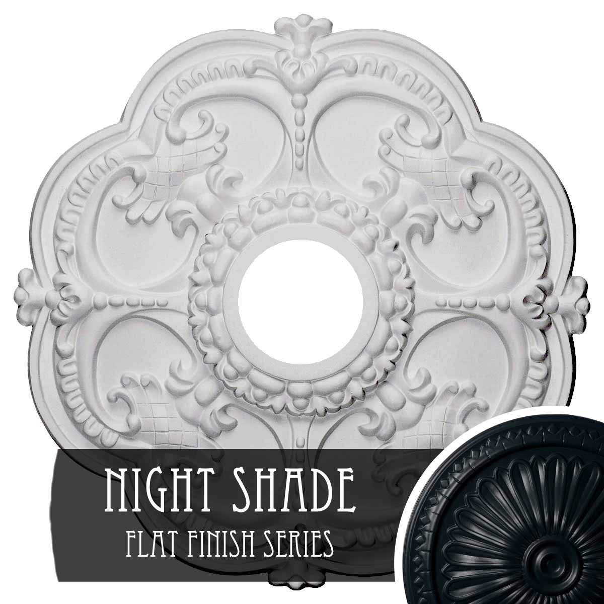 Night Shade Ekena Millwork CM17ROUWF redherham Ceiling Medallion, 18 OD x 3 1 2 ID x 1 1 2 P, Ultra Pure White