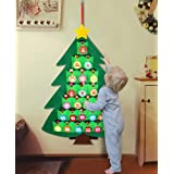 OurWarm Christmas Advent Calendar for Kids, 2020 24 Days Felt Christmas Tree Countdown Calendar Flip Pattern and Number for H