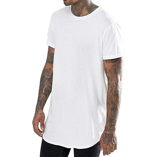 7590b4757e98 PERDONTOO Mens Hipster Hip Hop Basic Longline Curved Hem Crewneck Short  Sleeve T-Shirt (