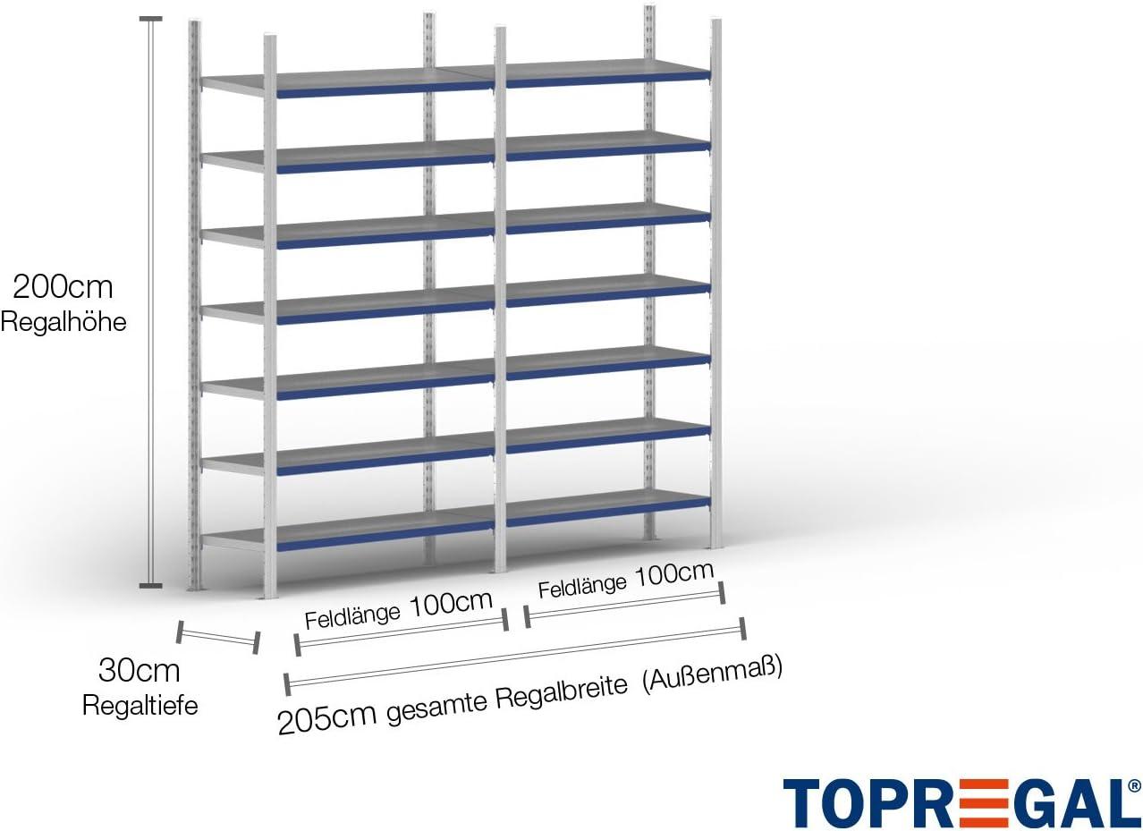Fachlast 2m Ordnerregal 200cm hoch 100kg 30cm tief mit 6 Ebenen inkl Stahlb/öden