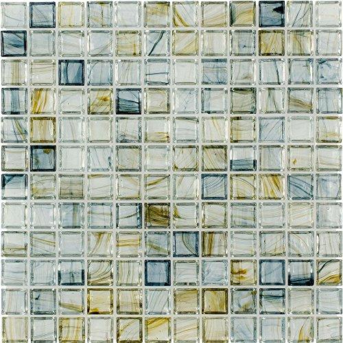 (MTO0084 | Classic Uniform Square Blue Glossy Glass Mosaic Tile )