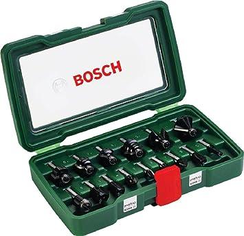 Bosch - Pack de 15 fresas con inserción de 8 mm: Amazon.es: Bricolaje y herramientas