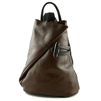Damen Echtes Leder Rucksack Mit Träger Und Reißverschluss- Aniuk Farbe Rot - Italienische Lederwaren - Rucksack Dream Leather Bags Made in Italy Gqoioc