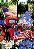 Morigins 4th of July Patriotic Welcome Garden Flag Double Sided Old Red Truck House Yard Flag