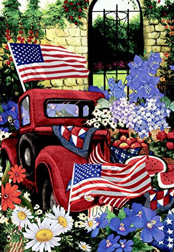 Large Flag (Morigins 4th of July Patriotic Welcome House Flag Double Sided Old Red Truck Yard Flag 28