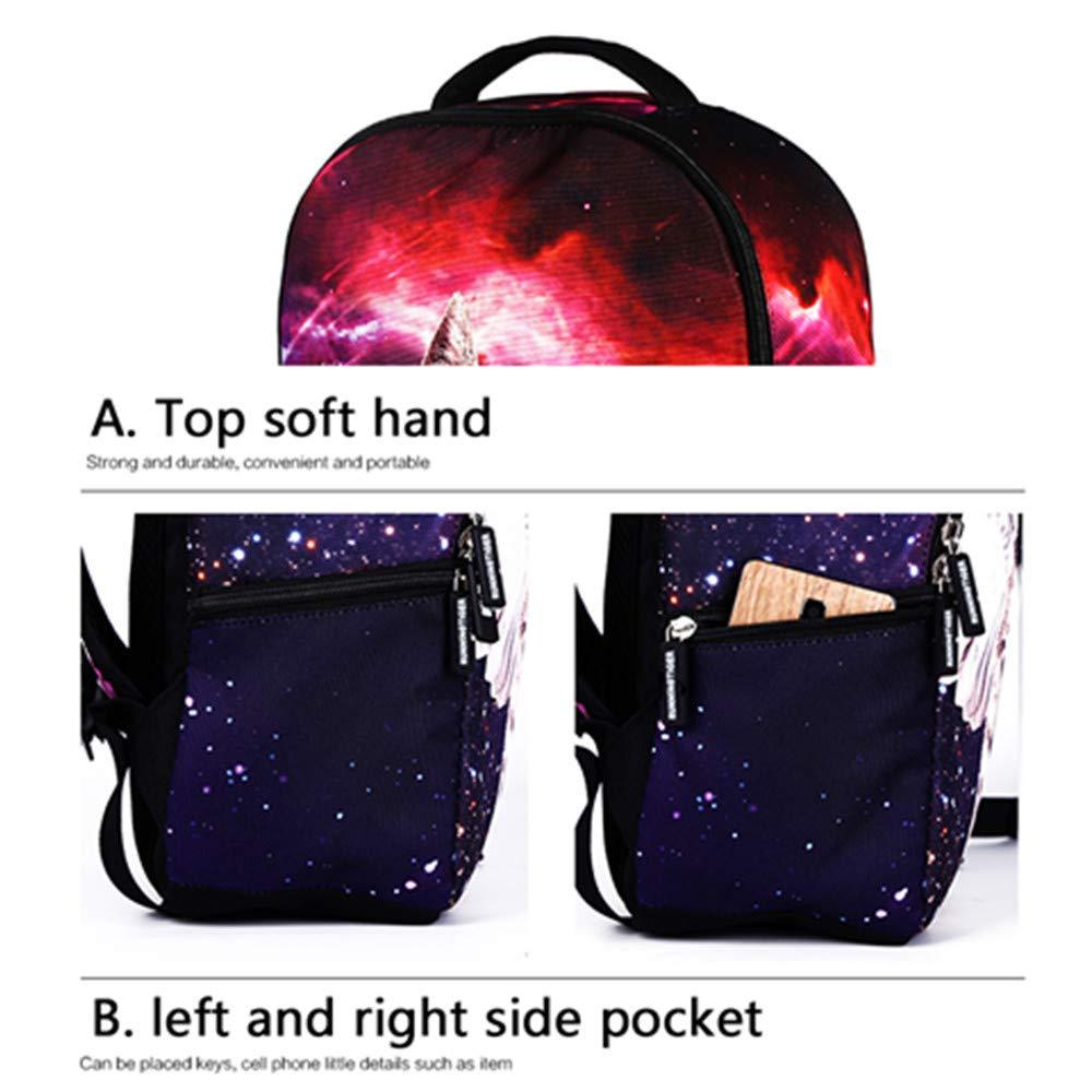 MIYA LTD 3D Cartoon Backpacks Boys,Unisex Fashion Rucksack Laptop Travel Bag Glowing College Bookbag Children's Schoolbag Teenager's Cute Backpack 3D Galaxy Print - Red Cat by MIYA LTD (Image #7)