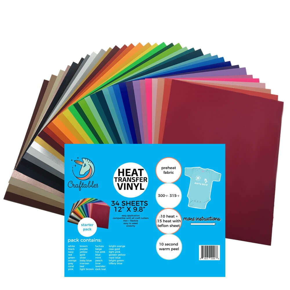 Craftables Complete Smooth Heat Transfer Vinyl Pack - Easy to Weed T-Shirt and Iron-On Vinyl for Silhouette Cameo, Cricut - (34) 9.8'' x 12'' Sheets