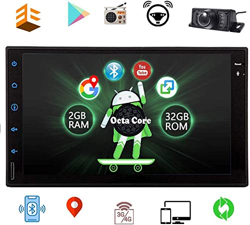 Android 8.1 Car Stereo 7 inch Full Touch Screen Bluetooth Head Unit Car Radio GPS Navigation Double 2 Din in-Dash Video Player OBD2 Free Rear Camera Car Logo Wallpaper EQ Setting
