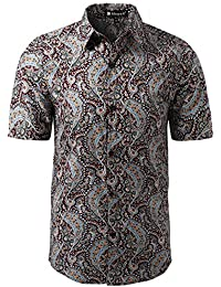 uxcell Men Short Sleeves Button Front Floral Print Shirt