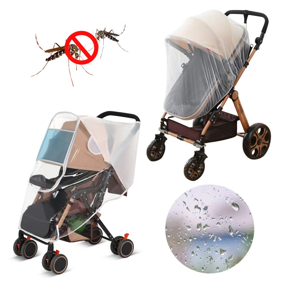 LEMESO Stroller Rain Cover Universal + Mosquito Net Baby Travel Weather Shields Waterproof Windproof Protection