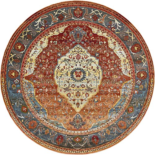 Unique Loom Baracoa Collection Bright Tones Vintage Traditional Rust Red Round Rug (8
