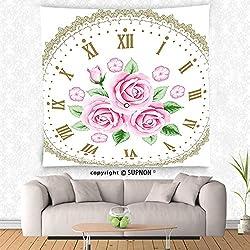 VROSELV custom tapestry Shabby Chic Decor Tapestry Vintage Clock Face Roses Roman Numbers Antique Vintage Wall Hanging for Bedroom Living Room Dorm Light Pink Green Dark Khaki