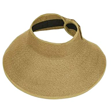 6257f278132 Image Unavailable. Image not available for. Color  Ladies Women Summer Sun  Beach Folding Roll Up Wide Brim Straw Visor Hat Cap