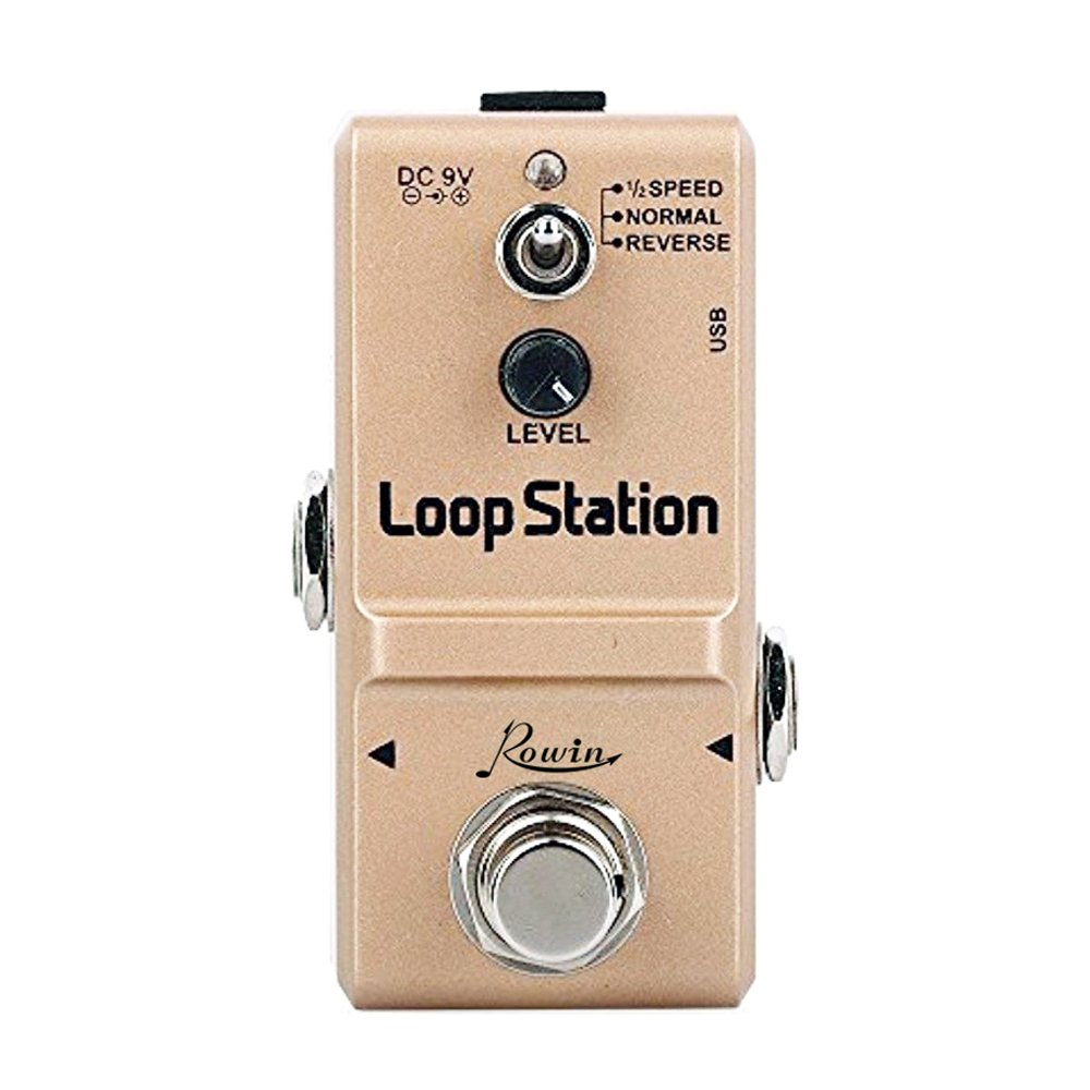 Rowin Nano Looper Gitarre Effektpedal True Bypass mit Reverse Mode 10 Minuten Looping-Loop Station Gold LN-332S