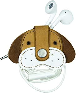 Hide & Drink, Leather Happy Puppy Cord Keeper, Earphone Wrap, Cable Organizer, Cute Accessories, Handmade Includes 101 Year Warranty :: Old Tobacco