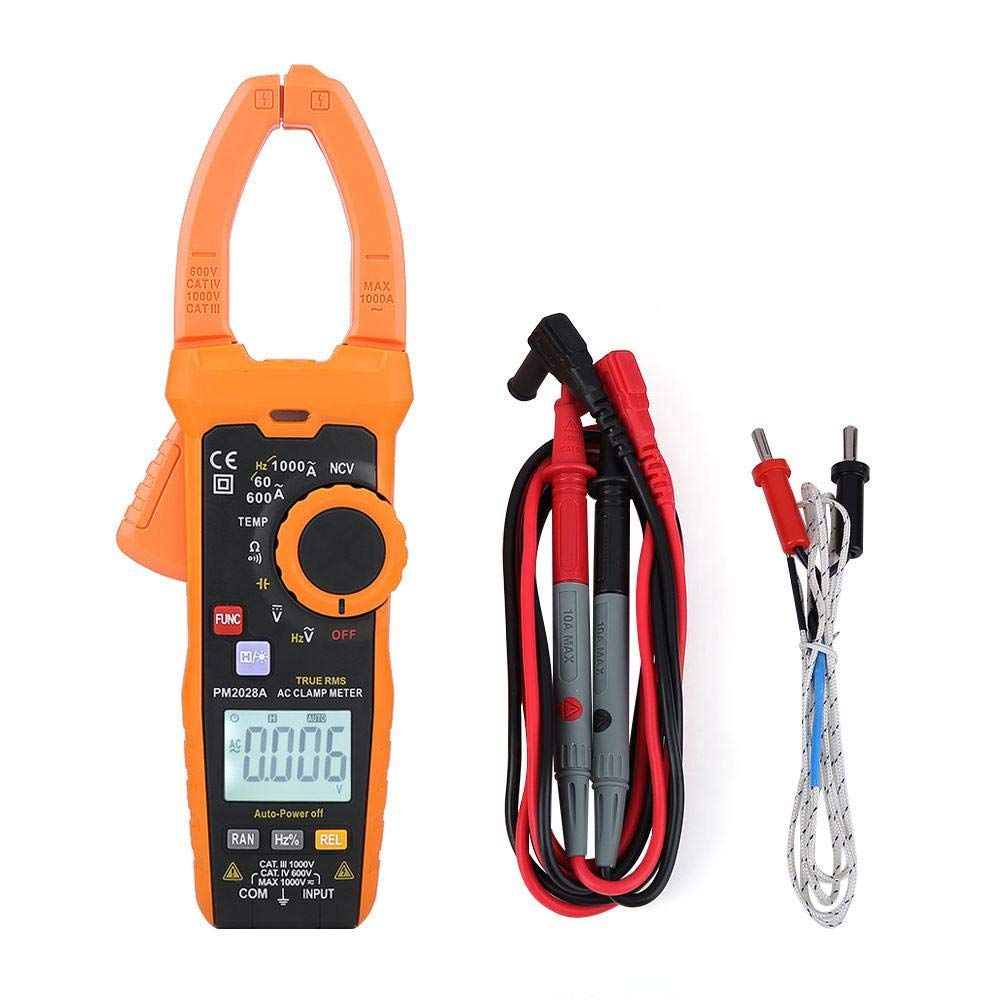 Akozon Digital Clamp Multimeter Clamp Meter 6000 Counts Backlit LCD Display NCV Non-Contact Voltage Detection Hz Ohm Capacitance Temp Meter Frequency Temperature Meter(PM2028A)