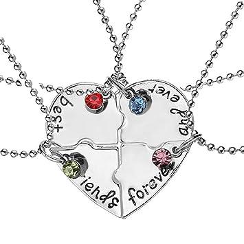 c4324b79cbf9 EQLEF® 4 Collar de la amistad de la plata de la aleación de PCS ...