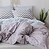 PinkMemory King Duvet Cover Cotton Bedding Set Reversible Plaid and Stripe Duvet Cover with 2 Pillow Shams Corners Ties Zipper Closure