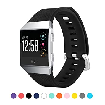 TUJUIO Fitbit Ionic Bands Soft Sport Silicone Replacement Band with Metal Buckle Breathable Wristband for Fitbit Ionic Fitness Smartwatch (Large)