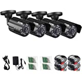 ZOSI 4 Pack HD-TVI 1280TVL 1.0MP Security Camera 720P 3.6mm Wide Angle Lens 24 IR LEDs Indoor Outdoor Waterproof IP67 Infrared Night Vision HD Bullet Camera For 720P/1080N/1080P HD-TVI DVR systems