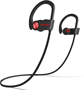 LETSCOM Bluetooth Headphones IPX7 Waterproof, Wireless Sport Earphones, HiFi Bass Stereo Sweatproof Earbuds w/Mic, Noise Cancelling Headset for Workout, Running, Gym, 8 Hours Play Time, Black