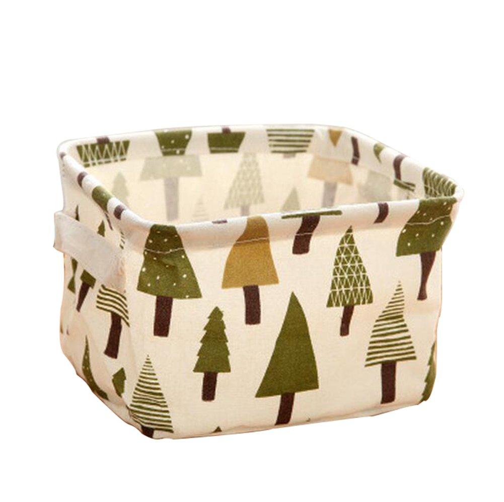 itemer 2Cute Tree Pattern Lagerung Organizer Schreibtisch Regalen Ordentlich Halter Leinen Baumwolle Stauraum Kisten Kosmetik Toys Cubes