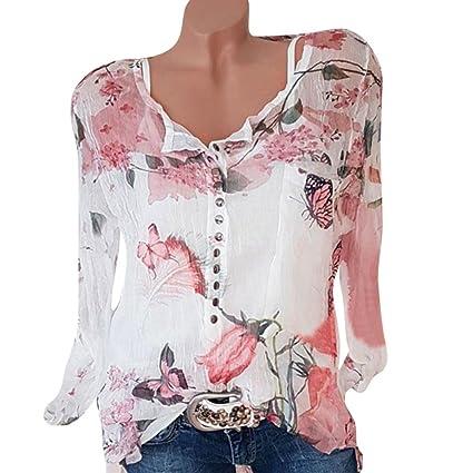 ddd029b54d8bf3 Amazon.com: Women Blouse Daoroka Chiffon Plus Size Long Sleeve Floral  Irregular Hem Casual Shirts Top: Cell Phones & Accessories