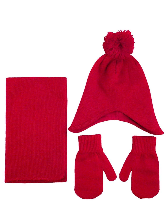 Unisex Kids Toddler 3pcs Winter Warm Knitted Fleece Pom Beanie Scarf Mitten Set 88-DILTFU-5000-BLK