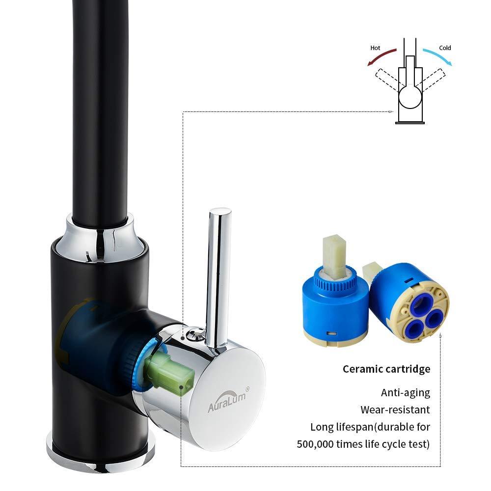 Auralum Mitigeur d/Évier Laiton T/ête LED 3 Couleurs Robinet de Cuisine Noir U-Forme Pivotant /à 360/°Pulv/érisation Chrom/ée