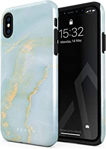 BURGA Phone Case Compatible With iPhone XS MAX - Sky Blue Mint Green Gold Dusts Marble Turquoise Azure Ocean Cute Case For Girls Heavy Duty Shockproof Dual Layer Hard Shell + Silicone Protective Cover