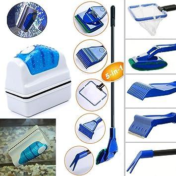 Geenber - Kit de Limpieza para Acuario, Limpiador magnético de Vidrio y raspadores de Algas 5 en 1: Amazon.es: Productos para mascotas