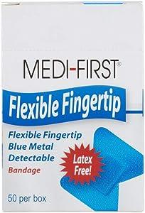 Metal Detector Knuckle Bandage, Woven Food Industry Bandaid, Blue, 50 Pack