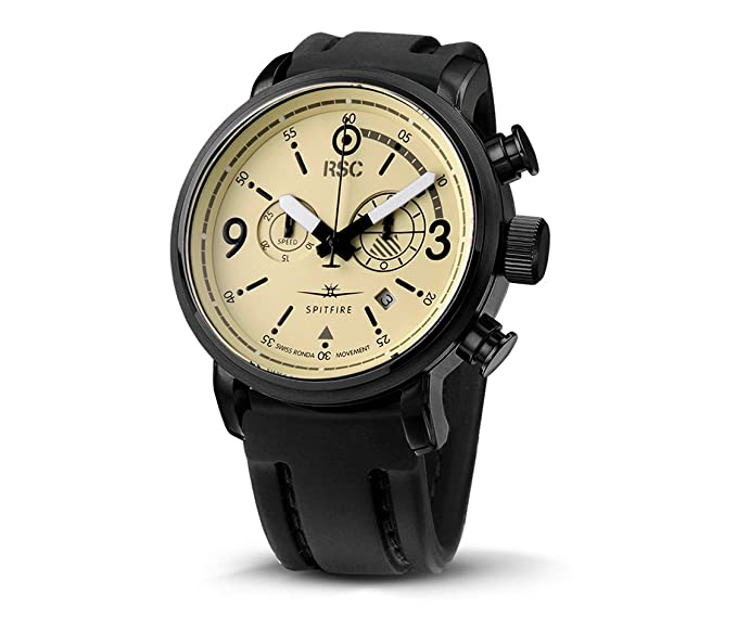 RSC Relojes De Piloto Hombres Análogo De Cuarzo Reloj con Cuero Pulsera Spitfire rsc1720: Amazon.es: Relojes