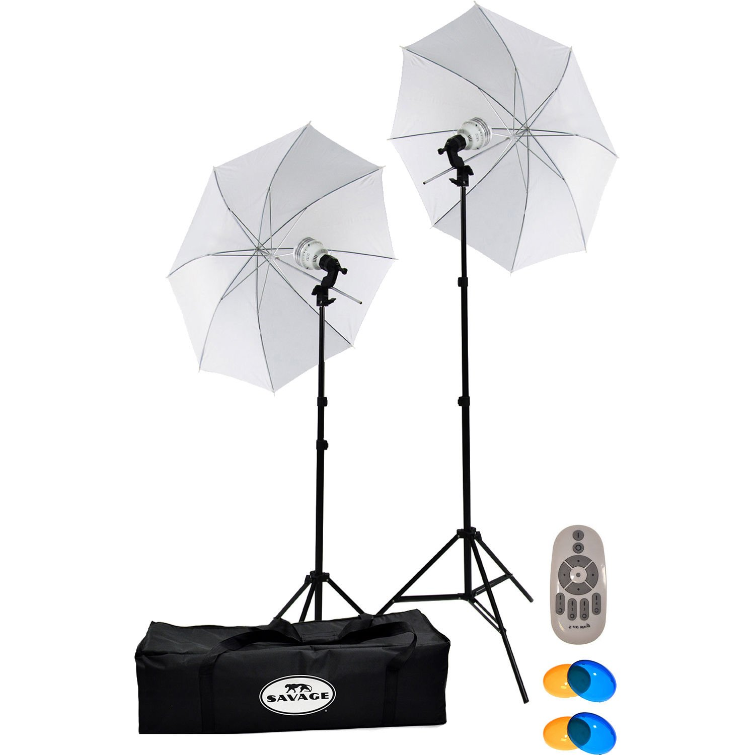 Savage LED60K 500 Watt LED Studio Light Kit with 2 Lights, 2 Stands, 2 Umbrellas, Remote, 2 Warming & 2 Cooling Domes, Case + Reflector Disks + Tripod by Savage (Image #2)