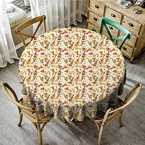 (DONEECKL Easy Care Tablecloth Jazz Music Pattern with Horn Drum Guitar and Fiddlestick Folk Music Ensemble Instruments Picnic D55 Multicolor)