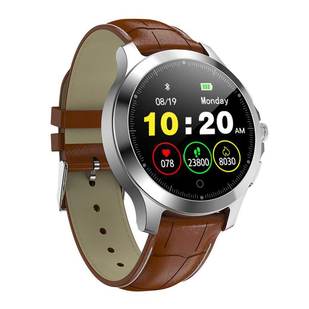 Hauzet Smart Bluetooth Watch, HRV&Blood Oxygen Sleep Monitor Watch,Fitness Activity Tracker Healthy Assistant (Maroon)