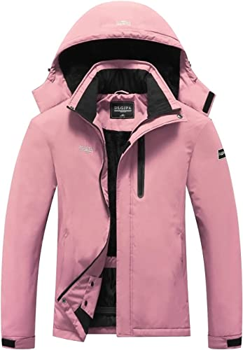 DLGJPA Women's Mountain Waterproof Ski Jacket Hooded Windbreakers Windproof Raincoat Winter Warm Snow Coat