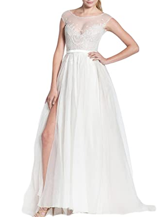 LucysProm Womens Prom Dresses High Slit A Line Scoop Chiffon Sweep Dresses Size 2 US White
