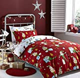 Catherine Lansfield Brush Cotton Elfie Single Bed in a Bag Red