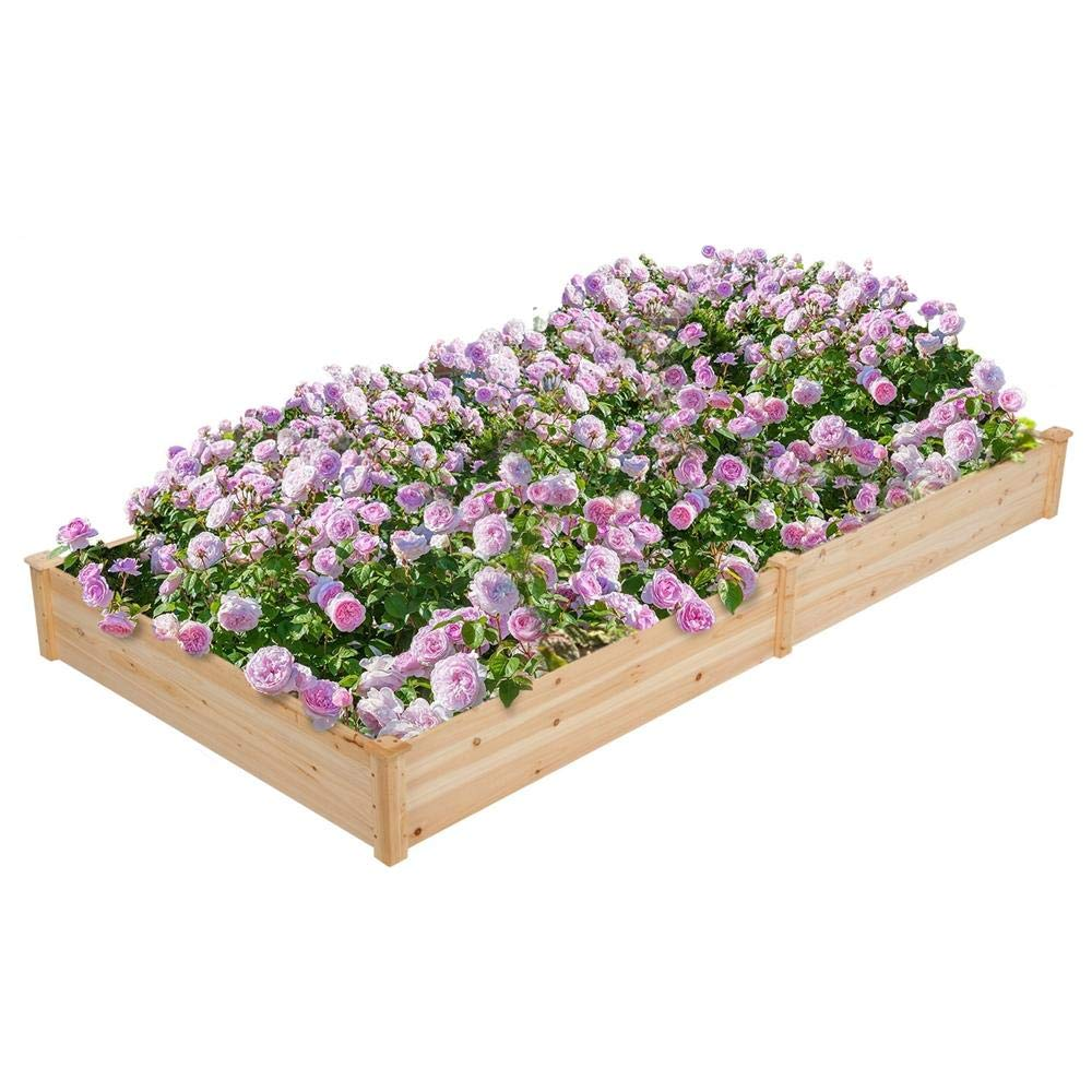Yaheetech Wood Raised Elevated Garden Bed Planter Box Boxes Outdoor for Vegetables Flower Solid Wood 4 x 8 ft