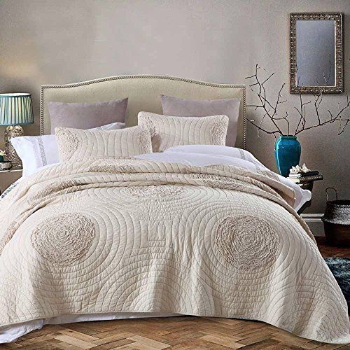 Quilt Sets Queen Size by YaYi, 100% Cotton Solid Handmade 3D Floral Quilted Bedspread with Shams, Modern Coverlet for Autumn & Winter (Handmade Cotton Quilt)