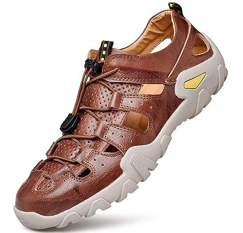 Sandales Tqgold® Bout Chaussures De Marche Fermé Homme Sport Plage Cuir P08mNwOvyn