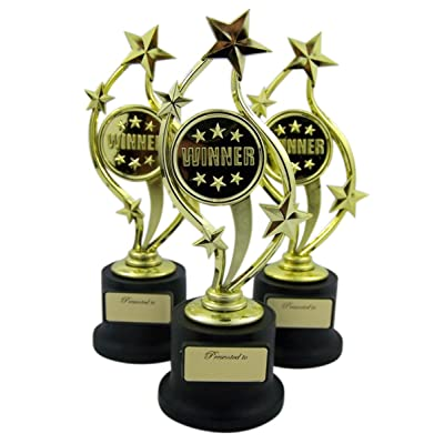 Forum Novelties Pack of 3 Black and Gold Sports Award Trophies for Teachers and Kids, 5 Inch (Winner): Toys & Games