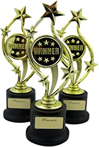Forum Novelties Pack of 3 Black and Gold Sports Award Trophies for Teachers and Kids, 5 Inch (Winner)