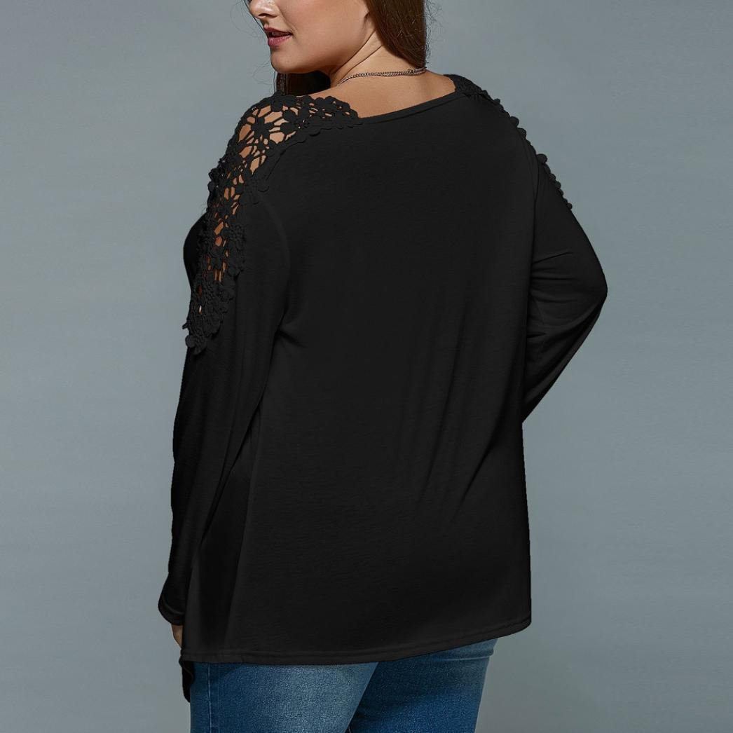 Anxinke Womens Lace Patchwork Hollow Out Long Sleeve Shirts Top V Neck Curved Hem Blouse Plus Size (Black, 7XL) by Anxinke Women Blouse (Image #2)