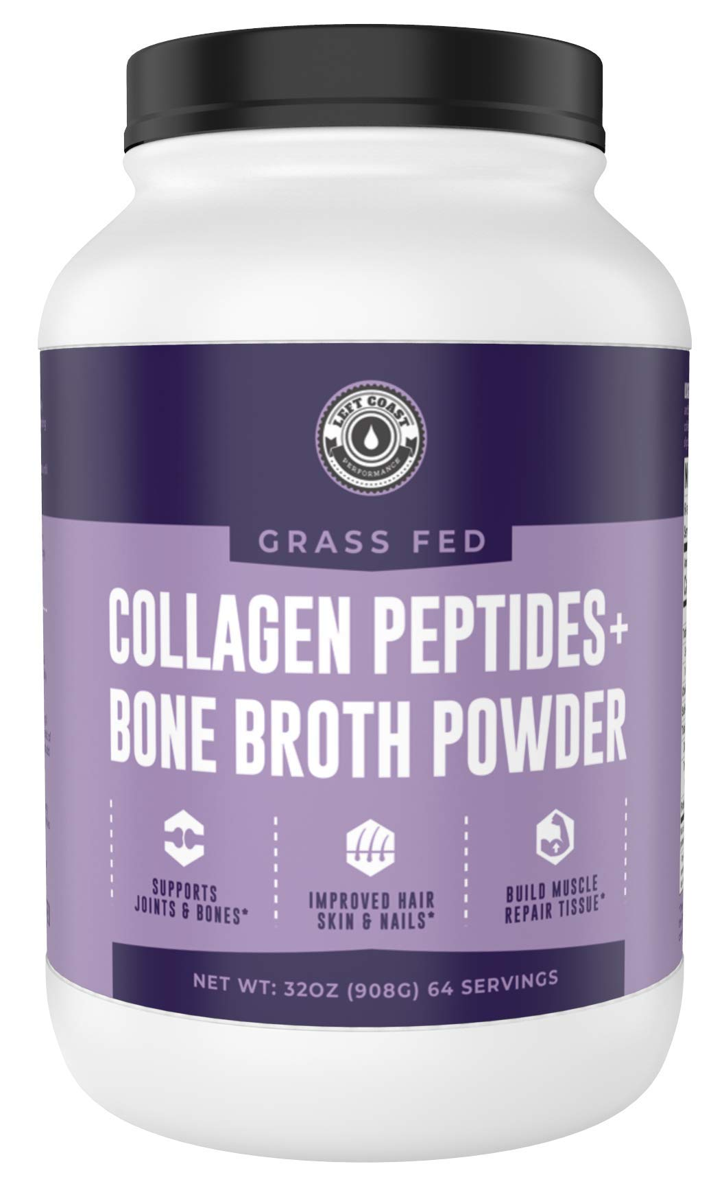 Collagen Bone Broth Powder 2lb, Bone Broth with Grass Fed Collagen Peptides. Unflavoured, Grass Fed, Hydrolyzed Beef, Zero Carb, Dairy Free Protein Powder. 64 Servings, by Left Coast Performance