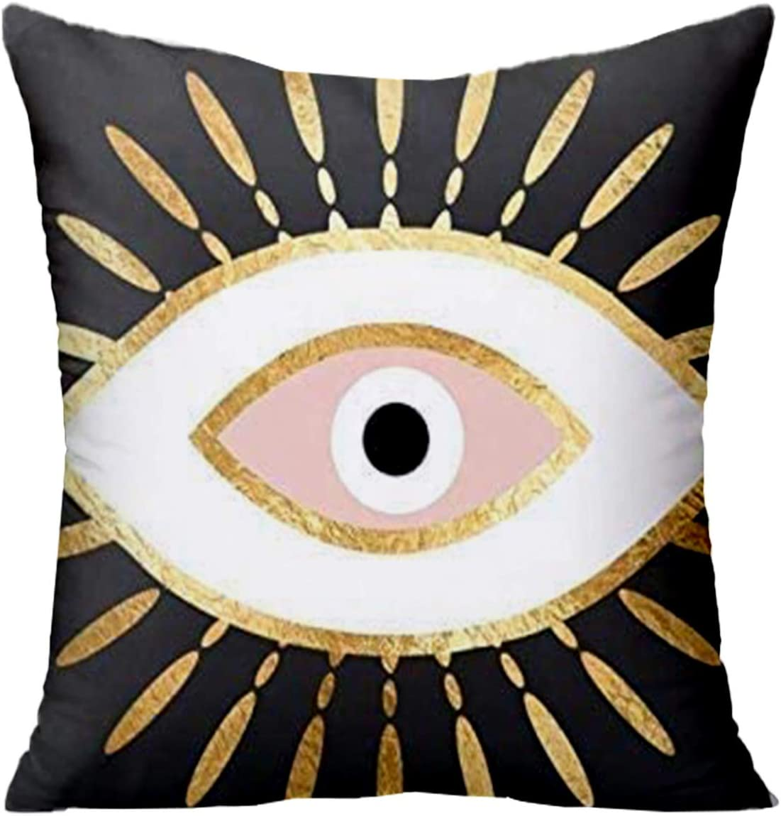 FJTP Gold Foil Evil Eye in Blush Flax Cotton Hidden Zipper Throw Pillow Covers 26x26 in (Two Sides)