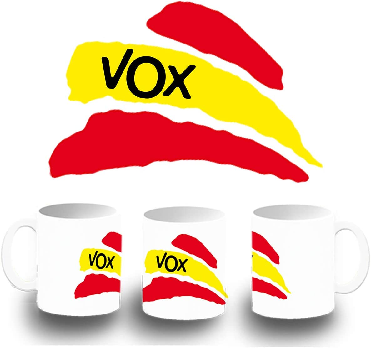 MERCHANDMANIA Taza Verde Partido VOX Bandera ESPAÑOLA Color mug ...